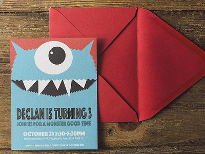 Birthday Invite kids silly monster graphic design invitation