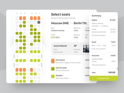 Select Seats (element) travel ui flights elements boarding select seat web design design