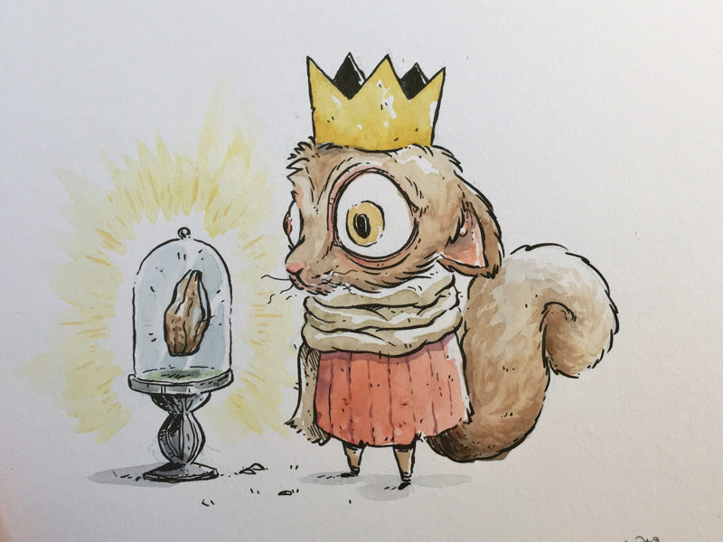 Watercolor character design king squirrel children illustration fantasy art brush pen inking visual development concept artist madebyluis luis moreira color painting character design character illustration watercolor