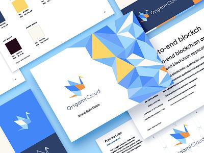 Origami Cloud Branding visual identity paper crane origami logo brand identity design app design cloud brand identity branding brand identity brand guideline brand design blockchain app