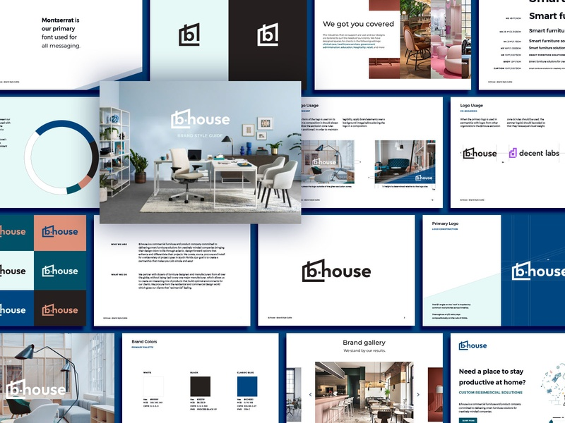 B.House Brand Style Guide mockup identity florida house logo logo identity design design brand identity brand guideline brand design branding contemporary office furniture furniture resimercial house