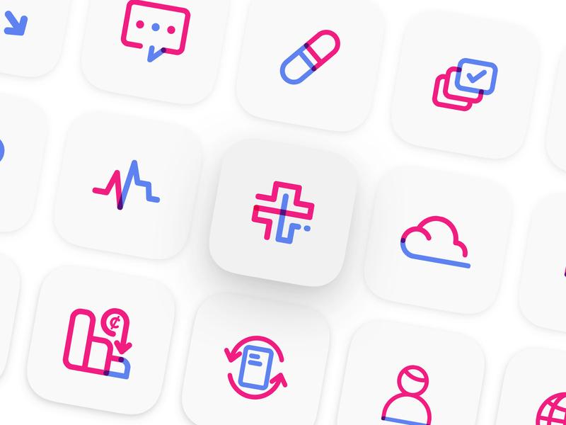 BlockMedx Iconography app start up tech brand icon set icon design brand identity branding health blockchain iconography icons e prescibe prescription medical blockmedx