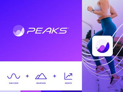 Peaks performance tech logo design machine learning ai sports health sine mountain peaks app brand design brand identity identity design branding logo