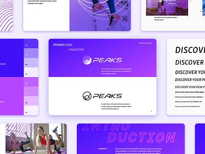 Peaks Brand Style Guide style guide identity sports logo sine wave energy fitness health tech logo brand design branding brand guidelines identity design brand identity