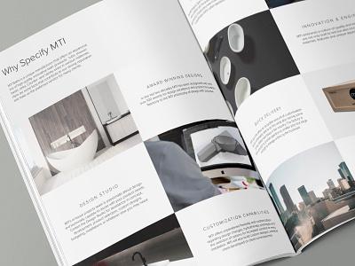 MTI Design Studio Brochure Spread layout brochure modern mockup publication design luxury bathtubs mti baths
