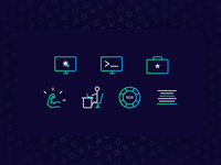 Icons set for programming course website