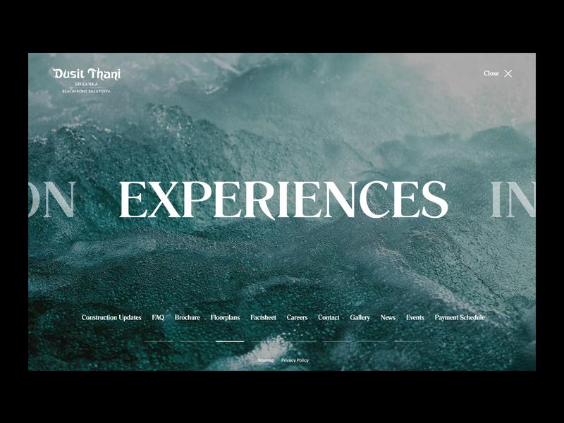 Dusit Thani Website - Menu interactive website interface typography web design webdesign web ux ui branding