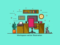 Workplace And Cat Line Art Colorful