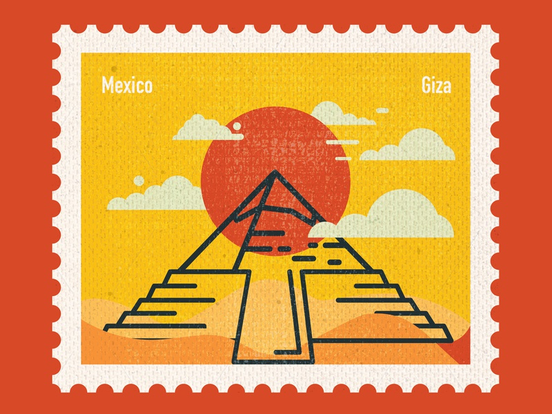 Connecting Destinations - Mexico paper art postage stamp stamp design stamp post card art mexico pyramids giza countries flat vector design illustration
