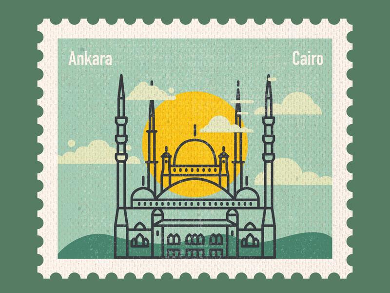 Connecting Destinations - Ankara turkey ankara cairo muscat masjid icon art center vector stamp design stamp post card postage stamp paper art illustration flat design countries art