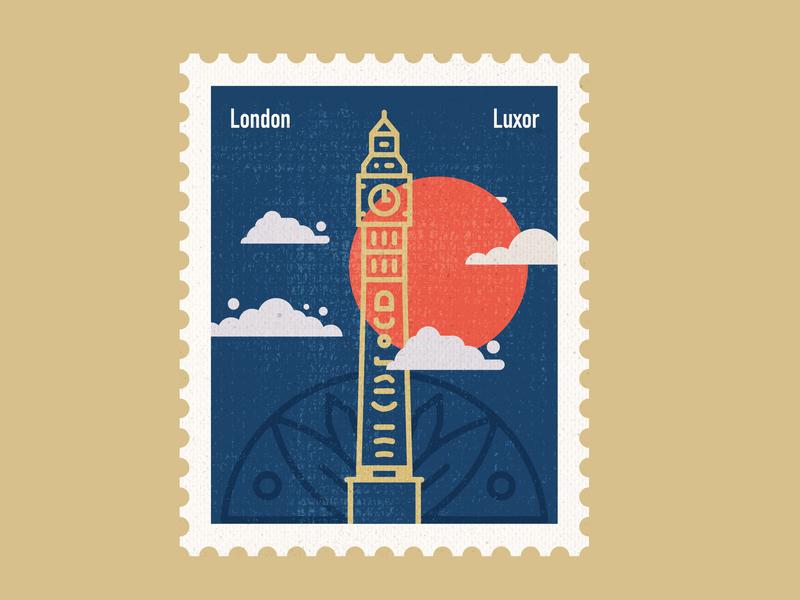 Connecting Destinations - London obelisk luxor london big ben icon art center vector stamp design stamp post card postage stamp paper art illustration flat design countries art