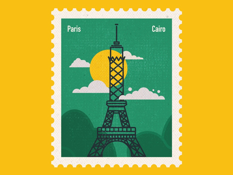 Connecting Destinations - Paris eiffel tower cairo paris icon art center vector stamp design stamp post card postage stamp paper art illustration flat design countries art