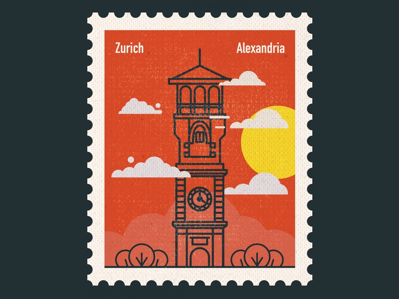 Connecting Destinations - Zurich bridges clock zurich cairo icon art center vector stamp design stamp post card postage stamp paper art illustration flat design countries art