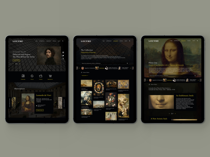 The Louvre website redesign art history earthy neutral visual design graphic design web design art