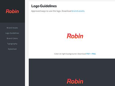Robin Styleguide styleguide logo robin onemightyroar