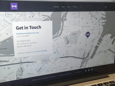 Contact Page onemightyroar contact map