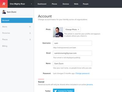 Settings robin settings form social account
