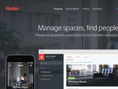 Manage spaces, find people hero showcase banner dashboard mobile marketing robin