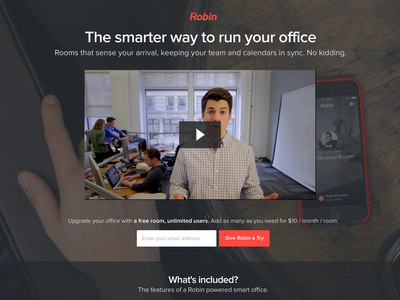 Smarter landing page landing page robin smart office video signup list beacon