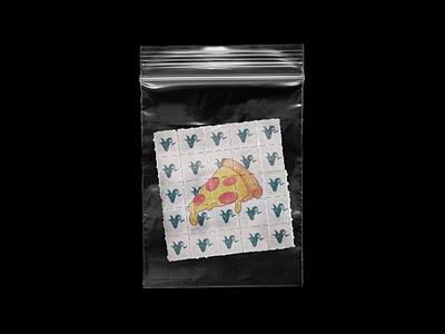 Your friendly neighborhood pizza plug. branding graphic tabs bag ziploc dimebag lsd acid merch t-shirt