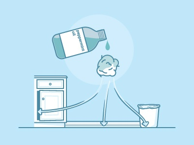How to get rid of that sniffing mouse... blue bottle oil peppermint can trash ball cotton illustration kitchen
