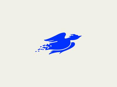 Whoa! Digi-bird? YES. modern blue digital phoenix icon symbol mark logo bird