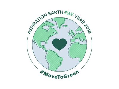 Move To Green Badge v1 lockup illustration heart green earth icon badge logo