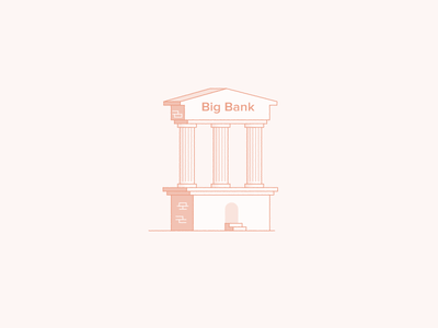 Big Banks stroke icon flat 2d stroke line simple red illustration bank