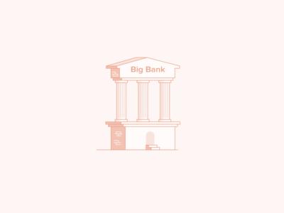 Big Banks stroke icon flat 2d stroke line simple red illustration bank