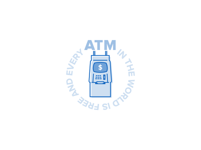 &ATM&ATM& blue illustration circle typogaphy vector stroke simple icon money atm
