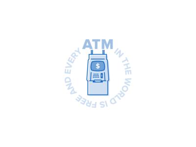 &ATM&ATM& blue illustration circle typogaphy vector stroke simple icon money atm