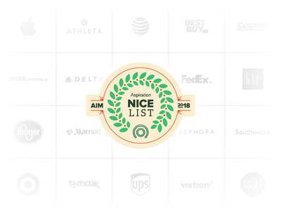 Holiday Nice List Badge grid review brands ups target apple winter 2018 social environment sustainability lockup badge holiday christmas vector logo illustration