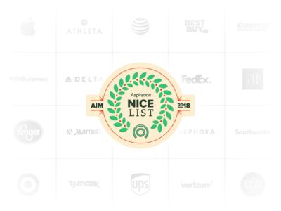Holiday Nice List Badge grid review brands ups target apple winter 2018 social environment sustainability lockup badge holiday christmas vector logo illustration