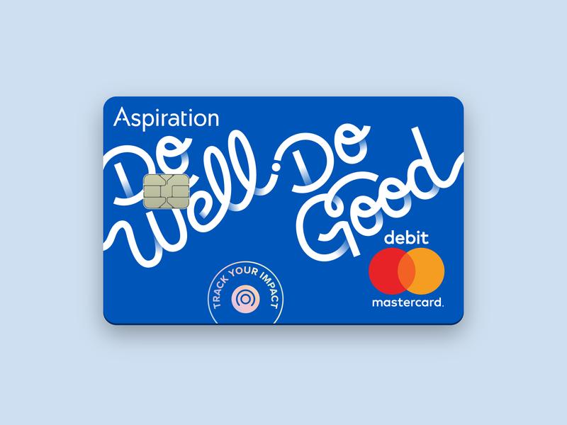 Freshly minted debit cards branding impact fintech simple script lettering blue mastercard debit card