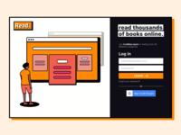 Read Log In Screen sign in login page user reading books ux ui uxui uidesign website web page interface webdesign app dark illustration concept ui login web design