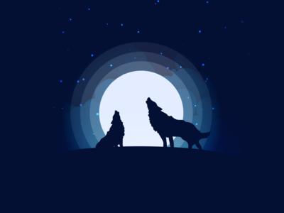 Howling Wolves. light howl night clouds stars dark moon wolves wolf design illustrator illustration