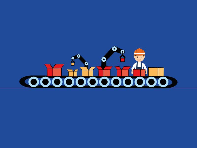 Automation! conveyor automate automation wheel packaging box belt labour man worker design vector illustrator illustration