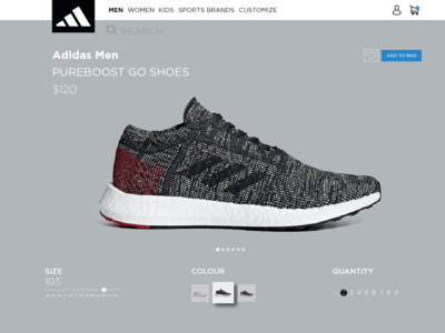 Adidas Concept Product Page. cart buy running colour size go boost pure shoes sneakers adidas ux concept ui design