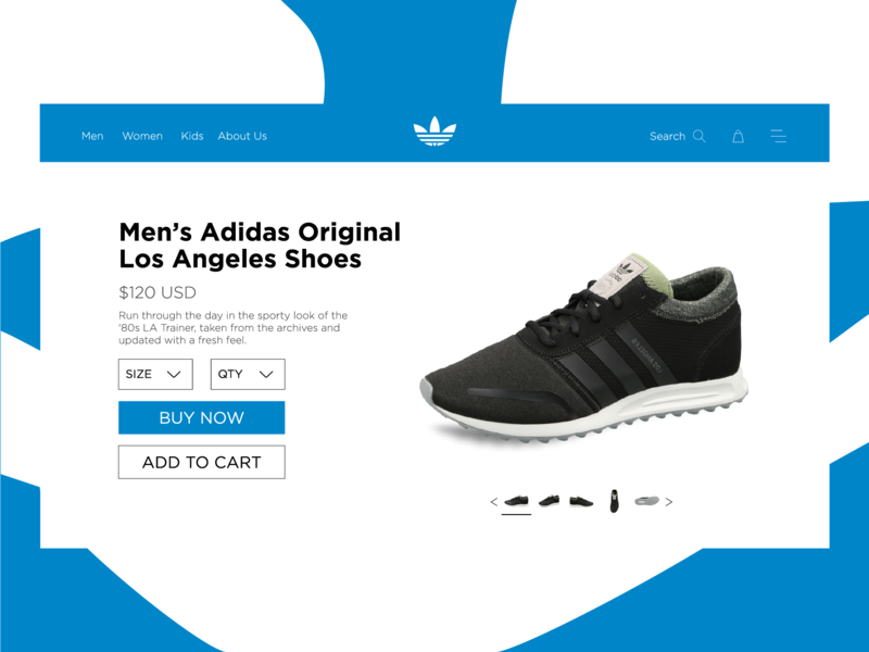 Adidas Concept Product Page. branding light ux approach concept ui design