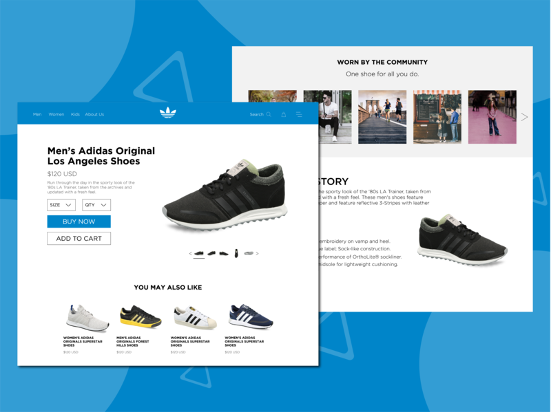 Adidas Concept Product Page. desktop sneakers shoes page product branding design ui ux web website