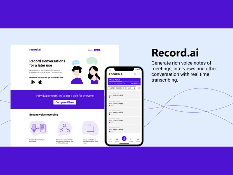Record.ai app web design illustrator typography ux concept vector ui illustration