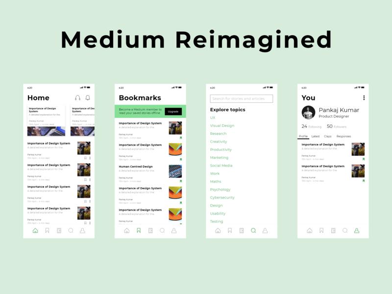 Medium Reimagined typography app light approach concept ux ui design