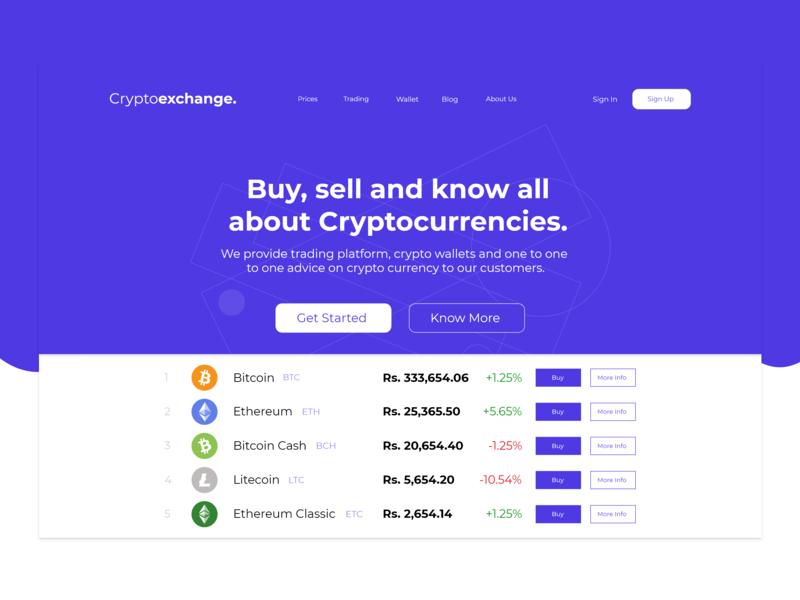 Cryptoexchange Landing Page website icon branding web concept approach typography light ux ui design