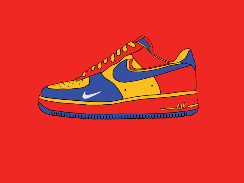 NIke Airforce 1 Sneakers primary colours primary air nike shoes air force nike air nike sneaker procreateapp procreate design illustrator illustration