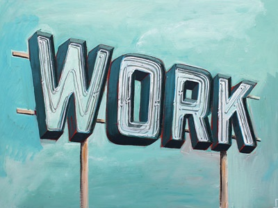 Work painted type lettering painting sign blue analog