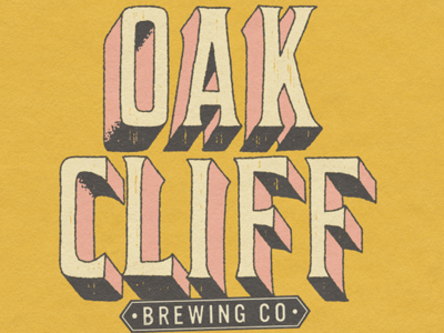 Oak Cliff Brewing Co. shirt design brewery typography wood type lettering