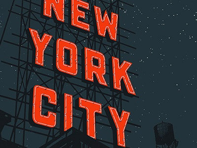 New York City sign nyc silk-screen gig poster the lone bellow type