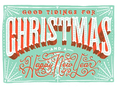 Good Tidings lettering christmas type hand drawn