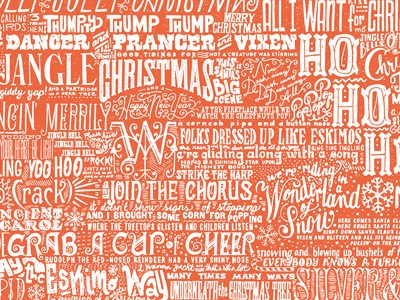 Carol wrapping paper pattern lettering christmas pattern type drawn
