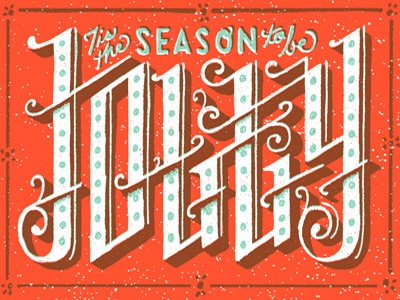 The season to be Jolly hand lettering christmas type lettering 2 color